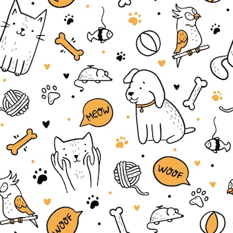 Pets cats and dogs seamless pattern in doodle style