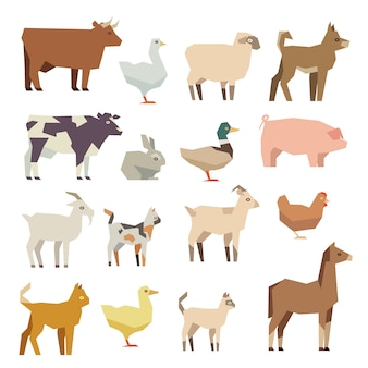 Pets and farm animals flat icons set