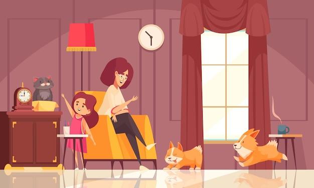 Composizione delle fasi di crescita degli animali domestici con vista interna dell'interno della casa con madre figlia e illustrazione dei loro cani
