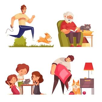 ペットの成長段階の動物のイラストと大人と子供の落書きのキャラクターと孤立した構成のセット
