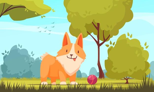 야외 공원 풍경 일러스트와 함께 애완 동물 성장 단계