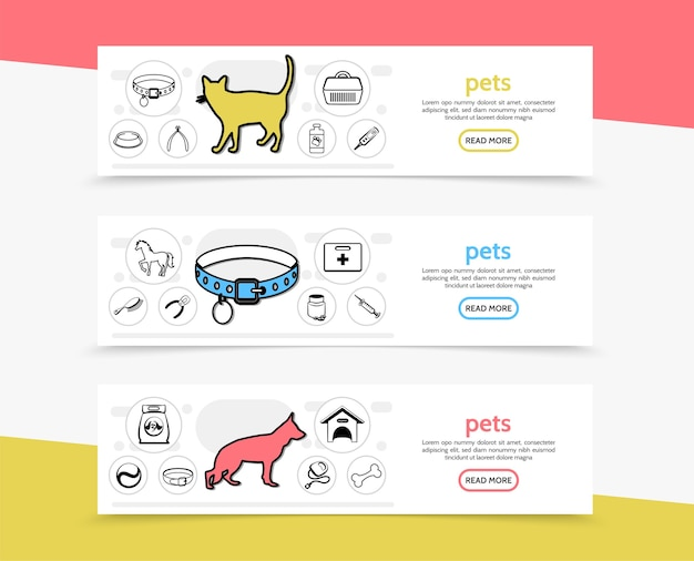 Pets horizontal banners