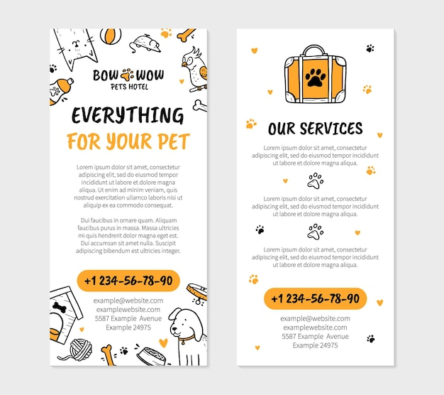 Pets hotel flyer template for printing in doodle style