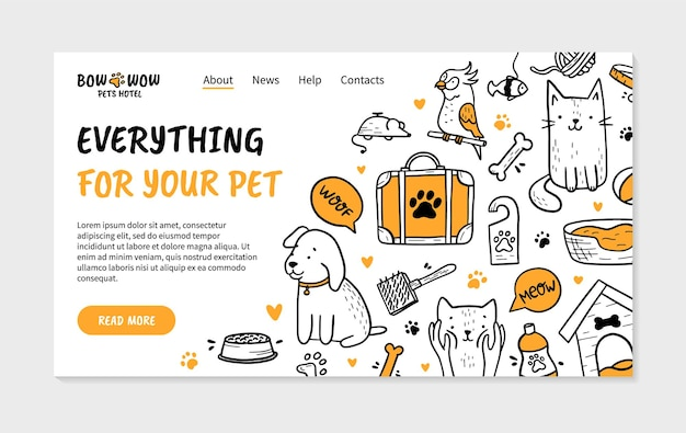Pets hotel landing page in doodle style
