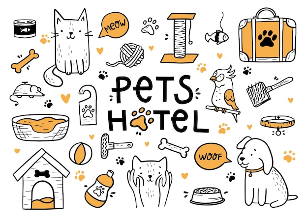 Pets hotel set in the doodle style