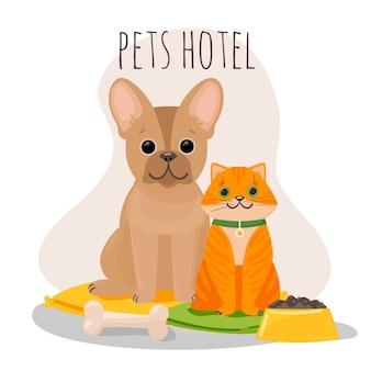애완 동물 호텔, 플랫 스타일의 동물 병원. 고립 된 음식 그림의 그릇 옆에 베개에 고양이와 개