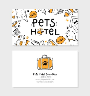 Pets hotel visit card for printing in doodle style