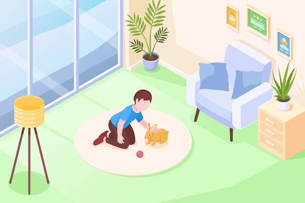 Pets kid boy playing with rabbit in room isometric illustration child cuddle rabbit pet and