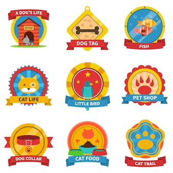 Pets label set