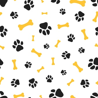 Pets paw pattern. bones and animal footsteps seamless texture.