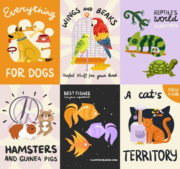 Pets posters and banners set