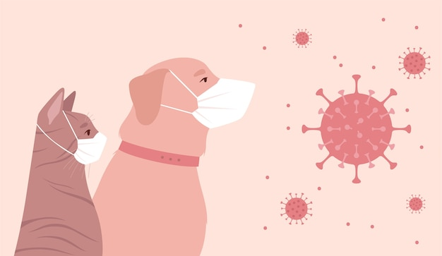 코로나 바이러스로 인해 격리 된 애완 동물.