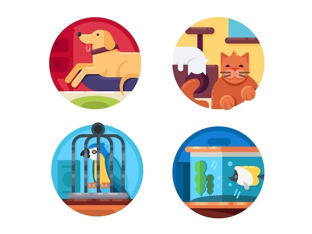 애완 동물 세트. 고양이와 개, 앵무새와 물고기. 벡터 일러스트 레이 션. 완벽한 픽셀 아이콘