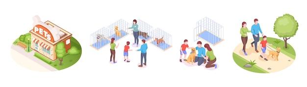 Приют для домашних животных и усыновленная семья животных берет собаку домой вектор изометрический набор счастливая семья с ребенком