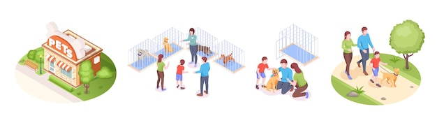 Pets shelter and animals adoption family takes dog home vector isometric set happy family with kid