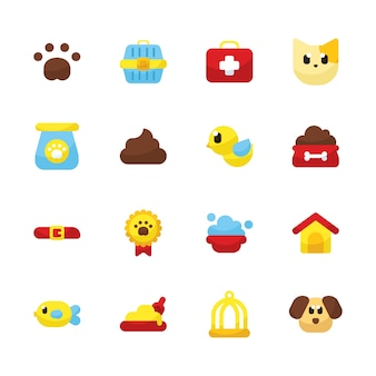 Pets shop icon set