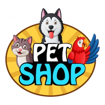 Pets shop logo with dog, cat and parrot.   illustration