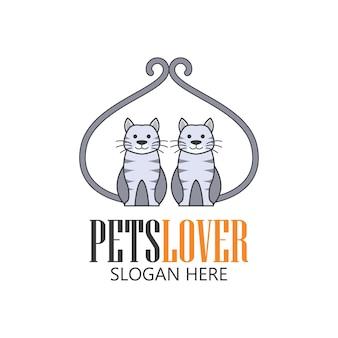 애완 동물 가게, 애완 동물 관리, 슬로건을위한 텍스트 공간이있는 애완 동물 연인 아이콘