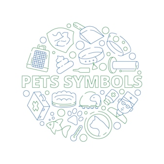 Pets symbols. circle shape with veterinary clinic icons dogs cats fish bones
