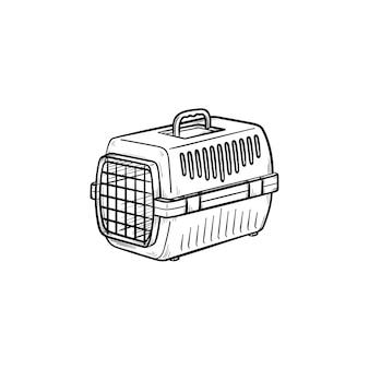 Транспортная коробка домашних животных рисованной наброски каракули значок. специальная коробка с дверью в качестве концепции перевозки безопасных домашних животных. векторная иллюстрация эскиз для печати, интернета, мобильных устройств и инфографики на белом фоне.