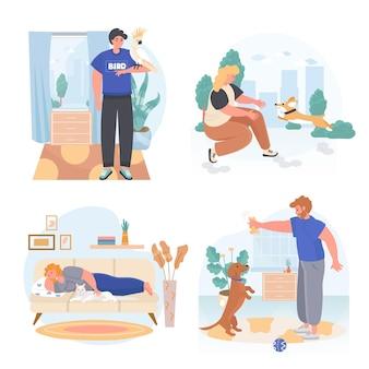 Домашние животные с их владельцами концептуальных сцен задают векторные иллюстрации персонажей