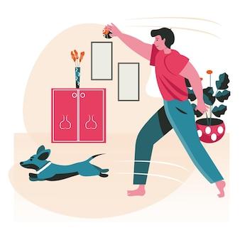 飼い主のシーンコンセプトを持つペット。犬と一緒にボールをプレーし、部屋でトレーニングする男。ペットの世話、動物との関係、人々の活動。フラットなデザインの文字のベクトル図