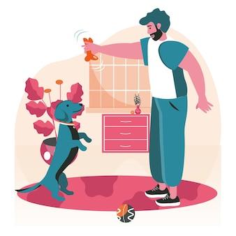 飼い主のシーンコンセプトを持つペット。犬とおもちゃで遊ぶ男、ボールでホームトレーニング。ペットの世話、動物との関係、人々の活動。フラットなデザインの文字のベクトル図