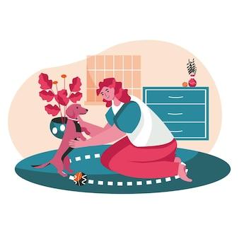 飼い主のシーンコンセプトを持つペット。居間で犬とボール遊びの女性。ペットの世話、動物との関係、人々の活動。フラットなデザインの文字のベクトル図