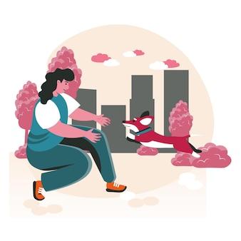 飼い主のシーンコンセプトを持つペット。女性は通りで犬と遊ぶ、子犬は彼女に走ります。ペットの世話、動物との関係、人々の活動。フラットなデザインの文字のベクトル図