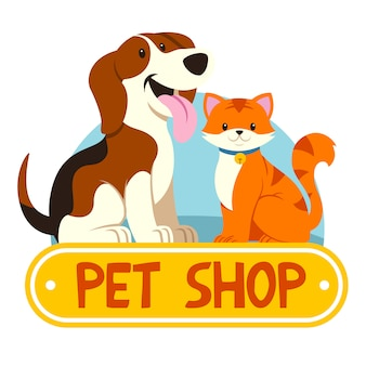 Petshop with cat and dog