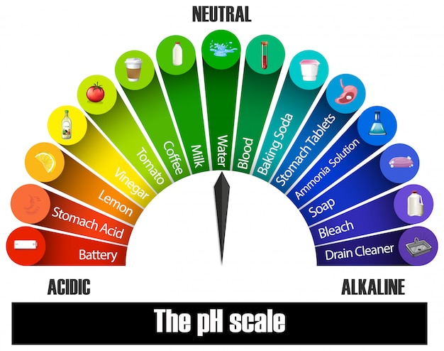 The ph scale on white