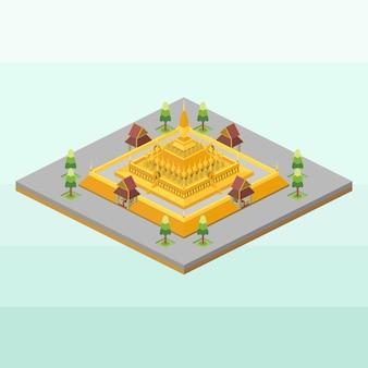 Pha that luang stupa of laos in isometric