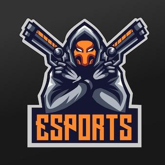 로고 esport 게임 팀 분대를위한 팬텀 슈터 마스코트 스포츠 일러스트 디자인