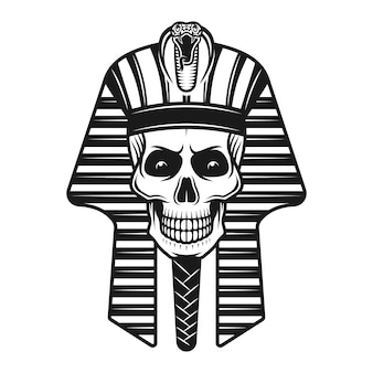 Pharaoh skull, egyptian ancient illustration in vintage style