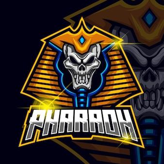 Pharaoh skull esport logo design template vector illustration