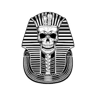 파라오 해골 벡터 일러스트입니다. 이집트 미라, 해골, 죽음의 상징. 고대 이집트의 역사와 신화 개념