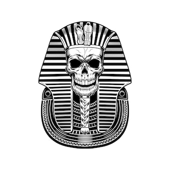 Pharaoh skull vector illustration. egyptian mummy, skeleton, death symbol. ancient egypt history and mythology concept