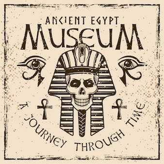 Pharaoh with headline museum of ancient egypt vintage emblem