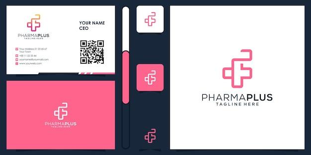 명함 디자인 벡터 프리미엄이 있는 제약 플러스 의료 로고