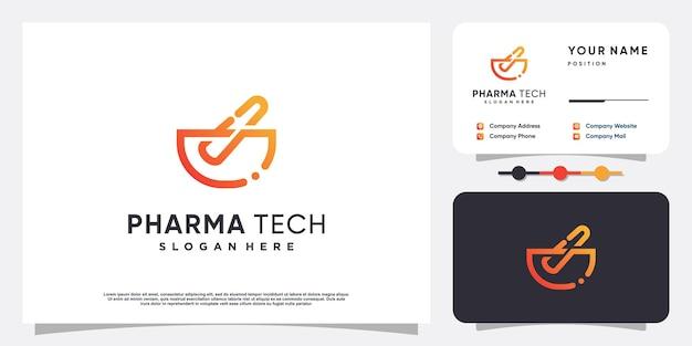 Pharma tech logo with modern style premium vector