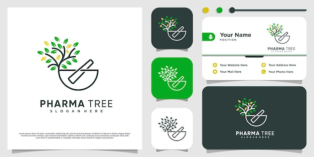 Логотип фармацевтического дерева с креативной концепцией premium векторы
