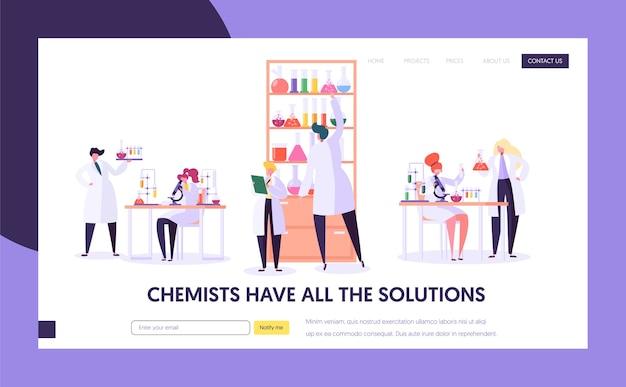 Pharmaceutic lab 연구 개념 소개 페이지. 의사 남자 캐릭터와 의료 유니폼 여자 도우미. 현미경 플라스크 튜브 웹 사이트 또는 웹 페이지. 플랫 만화 벡터 일러스트 레이션