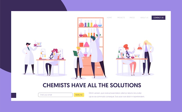 Pharmaceutic lab research concept landing page. doctor man character and woman assistant in medical uniform. microscope flask tube website or web page. flat cartoon vector illustration