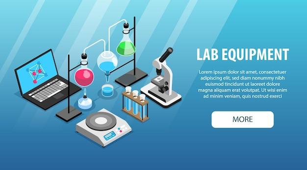 顕微鏡コンピューターフラスコチューブを備えた薬剤学実験装置等尺性水平ウェブバナー