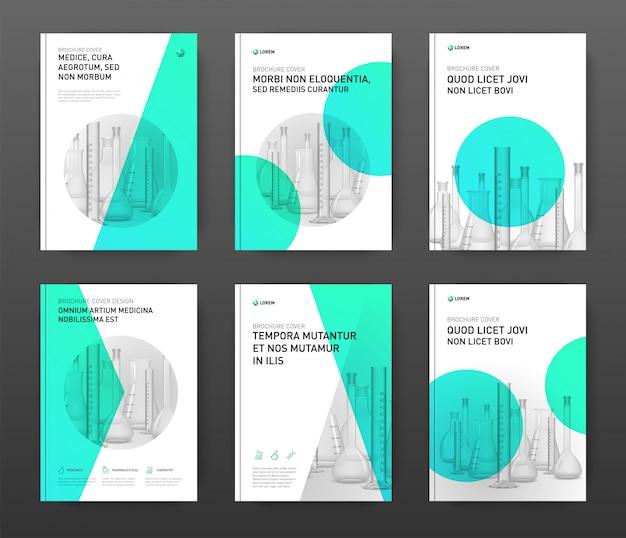 Pharmaceutical brochure cover design layout set