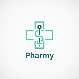 Pharmaceutical cross caduceus logo