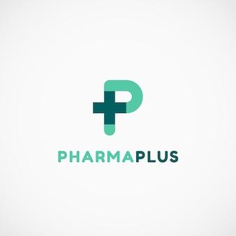 Pharmaceutical cross plus letter p logo