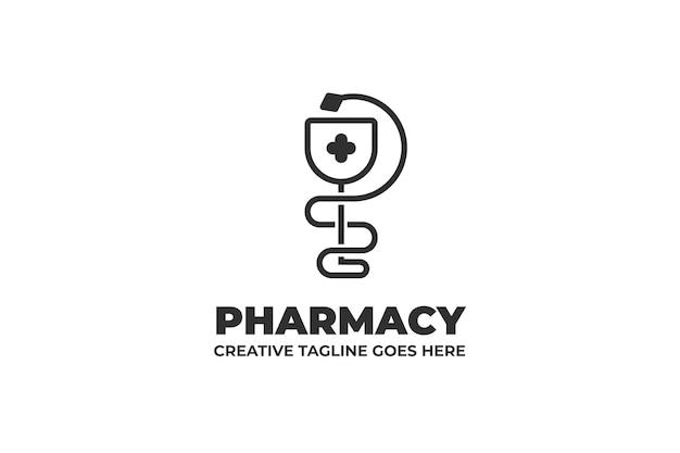 Pharmaceutical drugstore snake monoline logo