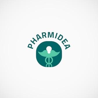 Pharmaceutical idea caduceus logo Premium Vector
