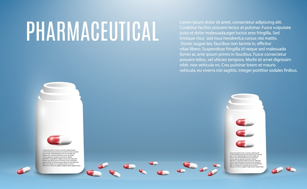 透明な背景の上の瓶から飛んでいる丸薬の製薬イラスト。